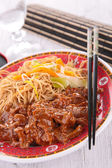 Beef and noodles — Stock Photo