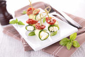 Finger food, zucchini roll — Stock Photo