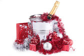 Champagne and Christmas decoration — Stock Photo