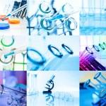 Collage of Test tubes closeup. Laboratory glassware — Stock Photo #22807690