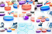Collage (set) of petri dishes.lab tools. — Stock Photo