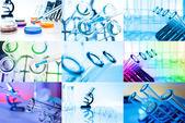Collage av provrör närbild. laboratorieartiklar av glas — Stockfoto