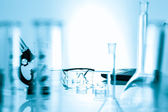 Microscope and test tubes used in laboratory .medical glassware — Stock Photo
