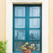 Vintage window  and plant . Greek Islands Santorini — Stock Photo