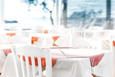 Empty table at an street sea restaurant — Stock Photo