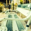 Alone bench on the park.antique metal bench — Stock Photo
