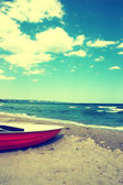 Boat on the beach.Vintage Beach Background — Stock Photo