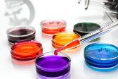 överför med pipett med droppe färg vätska och petriskålar — Stockfoto