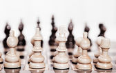 View from king of first move pawn on chess board close up — Stock Photo