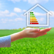 Hands holding  house with energy efficiency rating — Stock Photo #45390597
