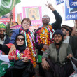 Cynthia Mckinney along with Dr.Fouzia Siddiqui are protesting for release of Dr.Aafia Siddiqui — Stock Photo