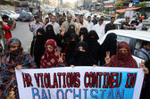 Protesting against Baloch Genocide during a demonstration at Karachi press club — Stock Photo