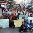 Stock Photo: Flood Affectees of Sindh province are protesting for demanding to Government provide permanent living houses
