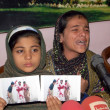 Stock Photo: Daughters of AmUllah Brohi who killed in fake police encounter on dispute of 1.8 Million Rupees, addresses to medipersons