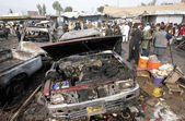 Bomb blast at a market situated at Jamrud area in Khyber Agency — Stock Photo