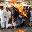 Members of Paramedical Staffs (PMA) burn effigy of Sindh Heath Minister, Dr. Sagheer Ahmed as they are protesting in favor of their demands — Stock Photo #17609039