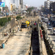 Stock Photo: Construction work of flyover is in its progress under supervision of Karachi MetropolitCorporation (KMC)