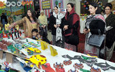 Pakistan Air Force Women Association President, Begum Shehla Tahir visits an Art Exhibition — Stock Photo