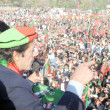 Tehreek-e-Insaf Chairman, Imran Khan addresses to the public gathering  arranged by Insaf Students Federation — Stock Photo