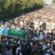 Stock Photo: Carry coffin of veterJamat-e-Islami Leader, Professor Ghafoor Ahmed at Idara-e-Noor-e-Haq