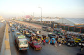 A large number of vehicles are in queue waiting for their turn to refill CNG, at a CNG Station — Stock Photo