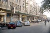 Market seen closed after target killing of three seminary teachers, Mufti Hameed Deenpuri, Mufti Saleh and Mufti Hasan who assassinated by unidentified gunmen — Stock Photo