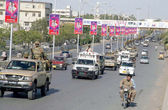 Security officials on patrolling as the Pakistan Army troops continue to provide secure environment to Election Commission staff — Stock Photo