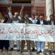 Stock Photo: Activists of Sasoli Qaumi Ittehad are protesting against assassination attack on Meer Zafar Sasoli during protest demonstration