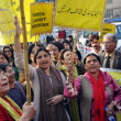 Stock Photo: Women activists of Khawateen Mahaz-e-Amal chant slogans against extremism and dictatorship