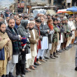 Activists of Jamat-ud-Dawa offer absence funeral prayer of Kashmiri Leader, Afzal Guru - Stock Photo