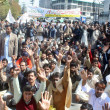 Members of All PakistClerk Association (APCA) chant slogans for implement of Provincial Charter of Demand — Stock Photo #21514905