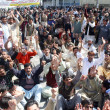 Stock Photo: Members of All PakistClerk Association (APCA) chant slogans for implement of Provincial Charter of Demand