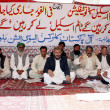 Members of All Pakistan Clerk Association sit on hunger strike camps as they are protesting against non-issue their timescale — Stock Photo