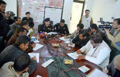 Capital City Police Officer (CCPO) Quetta, Mir Zubair Mehmood addresses to media persons during press conference — Stock Photo
