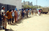 Suspected arrested by rangers during targeted search operation against criminals in Chanesar Goth area — Stock Photo