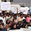Supporters and Activists of Muttehda Qaumi Movement (MQM) are protesting against new delimitation by Election Commission of Pakistan — Stock Photo