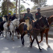 Horse rider police officials patrol passes at Zarghoon road to ovoid untoward incident as the security has been tightening in Quetta - Stock Photo