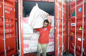 Laborer busy in shifting of contraband Gutka, Pan Masala stuffed in five containers had arrived on 4th February, 2013 — Stock Photo