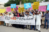 Members of Pakistan Diary Development Company Ministry of National Food Security Research chant slogans against nonpayment of their salaries — Stock Photo