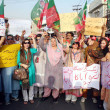 Stock Photo: Activists of Tehreek-e-Insaf (PTI) chant slogans against killing of ZehrShahid Hussain and alleged rigging in general election