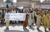Members of Chaman Citizen Action Committee chant slogans against kidnapping of senior Doctor Mubashir Hussain and demanding to his recovery immediately — Stock Photo