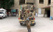 Army deployed in PS-128 constituency during re-election on 06 polling station after order of ECP — Stock Photo