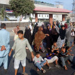 Residents of Layari blocked the road as they are protesting against unrest situation in their locality in front of Rangers headquarter — Stock Photo