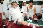 Victim of suicide bomb blast at Shergarh area of Mardan being admitted for treatment at Lady Reading hospital, in Peshawar on Tuesday, June 18, 2013. At least Twenty-eight were killed — Stock Photo