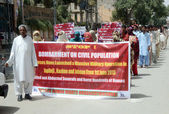Relatives of missing persons are protesting for recovery of their loves ones during protest demonstration organized by Baloch Human Rights Organization — Stock Photo