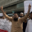 Stock Photo: PakistHajj Group Organizers are protesting against deduction in Annual Hajj Quotduring demonstration