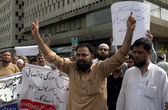 Pakistan Hajj Group Organizers are protesting against deduction in Annual Hajj Quota during a demonstration — Stock Photo