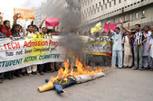 Activists of Student Action Committee are protesting against increment in tuition fees of B.Tech courses — Stock Photo