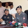 Stock Photo: Special Investigation Police officer, Asad briefs to medipersons related to arrest of culprits of extortion mafiwho are alleged in hand grenade attacks on jewelers houses