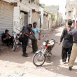 ������, ������: Police officials busy in search operation against criminals during targeted search operation against terrorists and miscreants at Chanesar Goth area